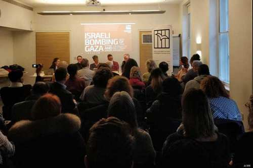 A seminar on the Israeli bombing of the Gaza Strip and the plight of Palestinian prisoners in Israeli jails by the Arab Organisation for Human Rights (AOHR) in the UK on 8 April 2019 [AOHR]