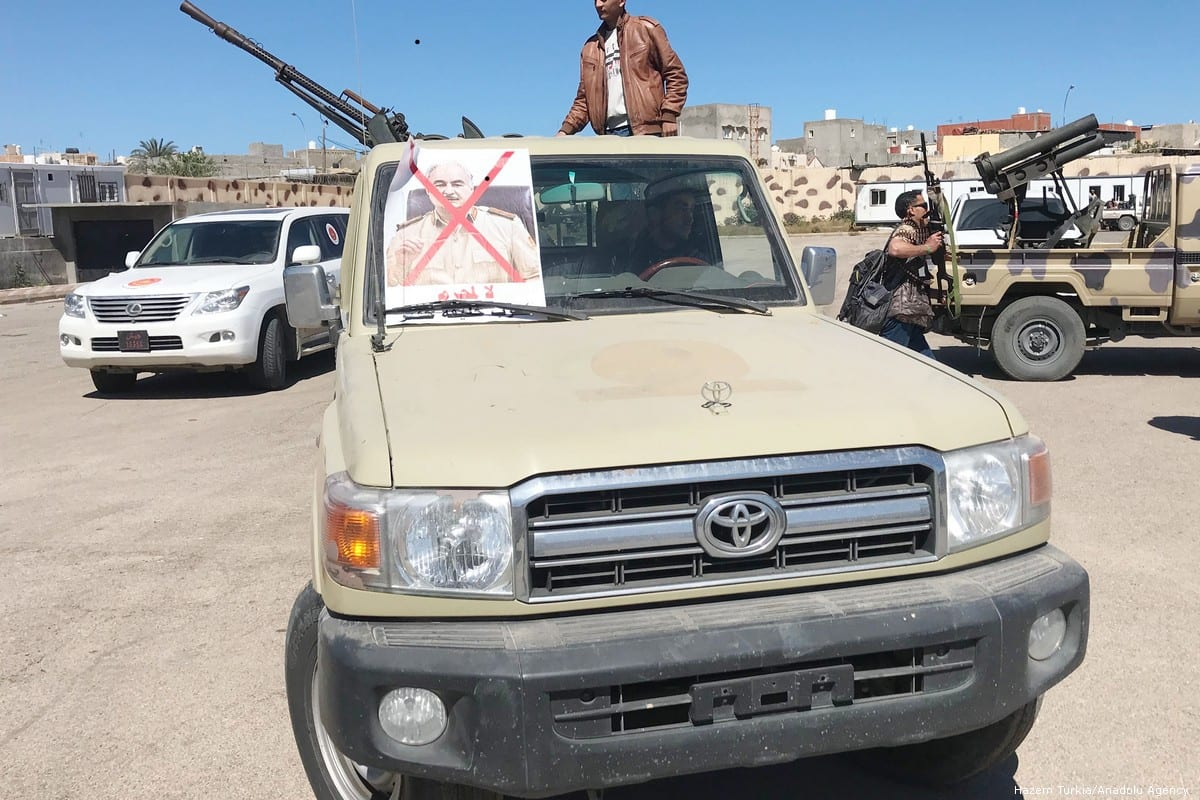 Libyan National Accord Government troops are dispatched of Tripoli, Libya during an operation against eastern Libyan military commander Khalifa Haftar in 8 April 2019 [Hazem Turkia/Anadolu Agency]