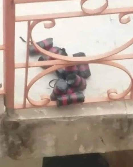 Israeli settlers planted bombs on the stairs of Al Ibrahimi school in Hebron on 14 April 2019 [Twitter]