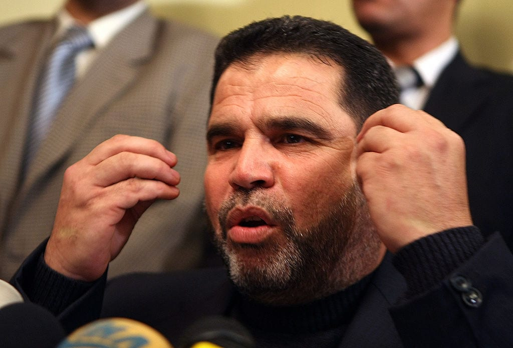 Palestinian Hamas official Salah Al-Bardaweel speaks during a press conference at a hotel in Cairo on 14 January, 2009 [CRIS BOURONCLE/AFP/Getty Images]