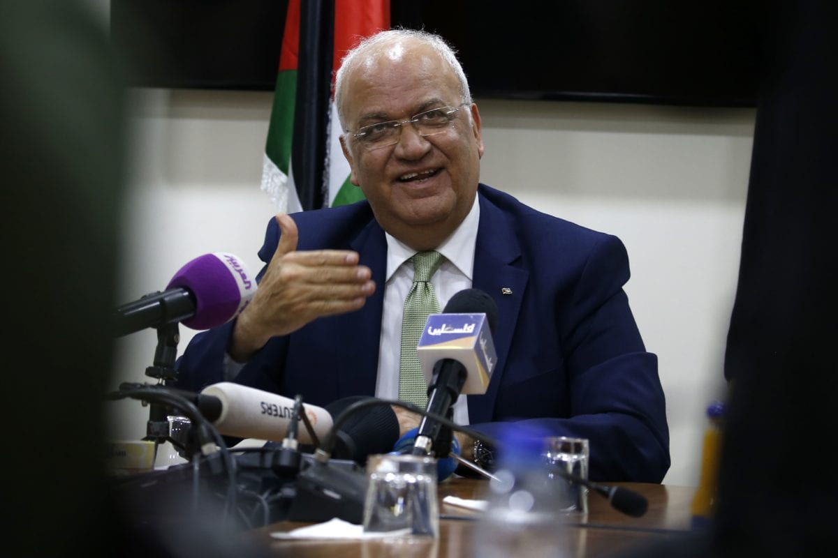Saeb Erekat, secretary general of the Palestine Liberation Organisation (PLO) in Ramallah on 30 January, 2019 [ABBAS MOMANI / AFP / Getty]