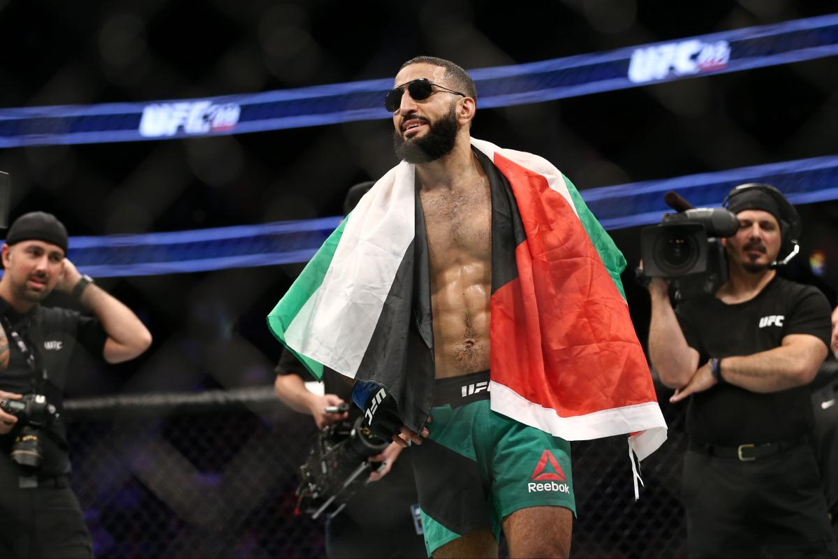 Fighter Belal Muhammad celebrates after his victory over Jordan Mein in their welterweight bout during the UFC 213 event at T-Mobile Arena on 9 July, 2017 in Las Vegas, Nevada. [Rey Del Rio/Getty Images]
