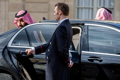 The Crown Prince of Saudi Arabia Mohammed Bin Salman Bin Abdulaziz Al Saoud arrives at Elysee Palace for a meeting with the French President Emmanuel Macron on 10 April, 2018 in Paris, France [Aurelien Morissard/IP3/Getty Images]