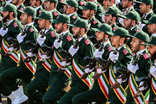 Members of Iran's Revolutionary Guards Corps march during the annual military parade in Tehran, Iran on 22 September 2018 [STRINGER/AFP/Getty Images]