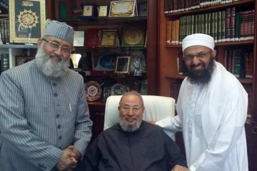 Al-Qaradawi with Dr. Salman Al Husaini Al Nadwi, the well known Indian scholar and professor in the Islamic sciences, and Dr. Adel Al-Harazi, a researcher in Sciences of Sunnah in 2016 [IUMS-Facebook]