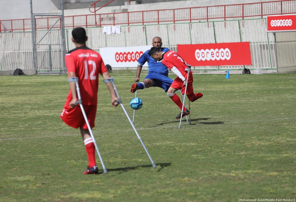Amputee Football Championships in Gaza on 13 April 2019 [Moahammed Asad/Middle East Monitor]