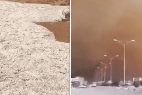 The mysterious and extreme weather has caused bizarre 'ice floods' to sweep Middle East deserts [Twitter]
