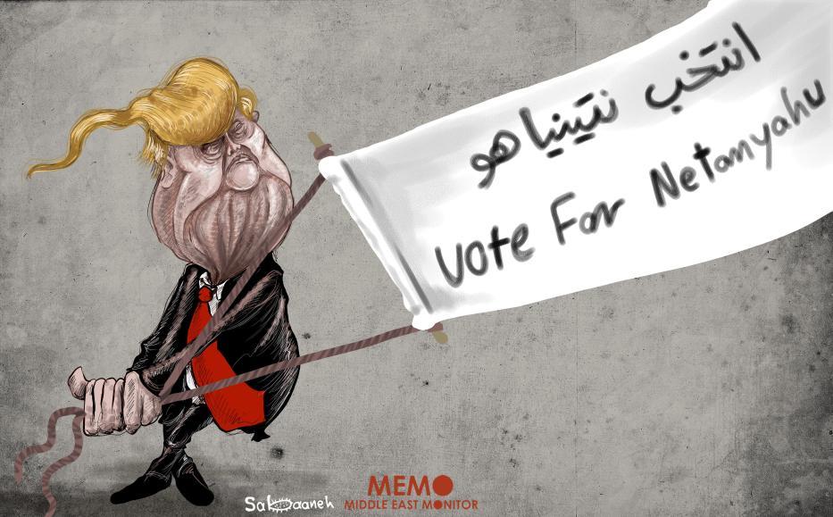 Trump' support to Netanyahu #IsraElex19 - Cartoon [Sabaaneh/MiddleEastMonitor]