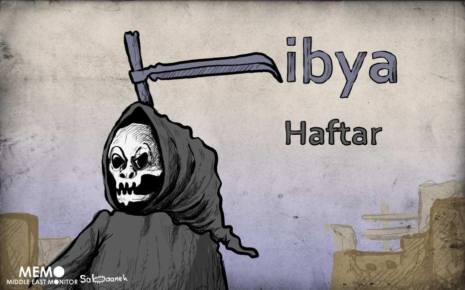 Haftar's forces kill migrants in Libya - Cartoon [Sabaaneh/MiddleEastMonitor]