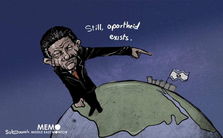 दक्षिण अफ्रीका फिलिस्तीन - कार्टून के साथ खड़ा है [Sabaaneh/MiddleEastMonitor]