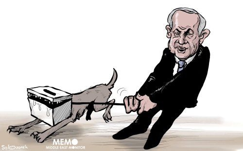 After almost losing, Benjamin Netanyahu comes 1st in 2019 Israeli election - Cartoon [Sabaaneh/MiddleEastMonitor]