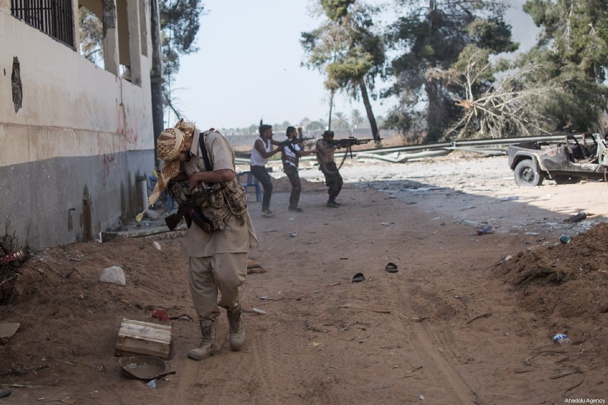 National Accord Government troops clash military commander Khalifa Haftar's troops on course of the airport in Al Sawani region of Tripoli, Libya on 15 May 2019 [Amru Salahuddien/Anadolu Agency]