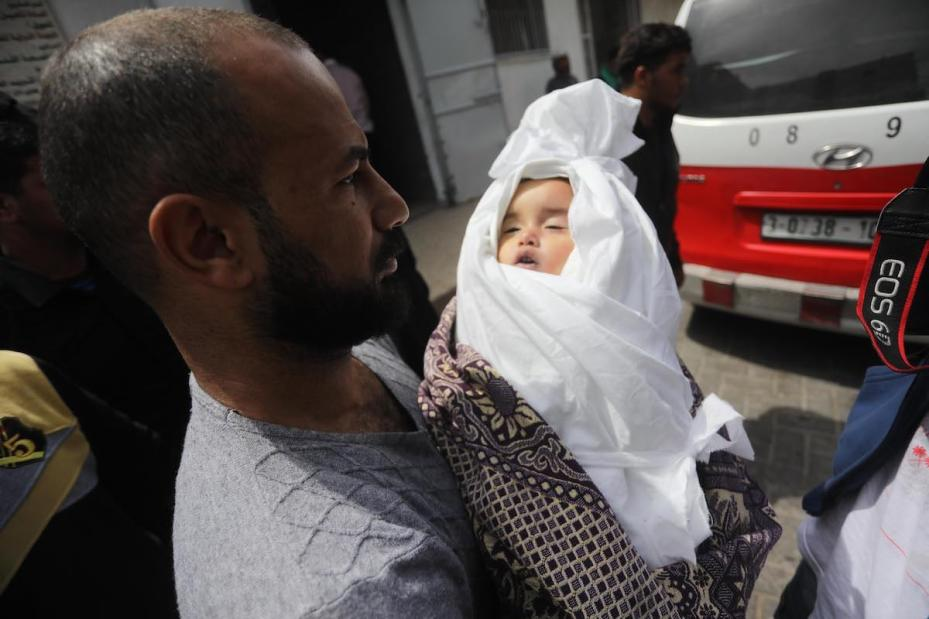 14-month-old Saba Mahmoud Abu Arar was killed by an Israeli air strike on Gaza, on 4 May 2019, [Mohammad Asad - Middle East Monitor]
