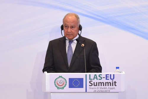 Arab League chief Ahmed Abul Gheit attends a press conference during the closing session of the first joint European Union and Arab League summit in the Egyptian Red Sea resort of Sharm el-Sheikh, on 25 February, 2019 [MOHAMED EL-SHAHED/AFP/Getty Images]