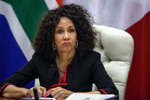 South African Minister of International Relations and Cooperation Lindiwe Sisulu gives a joint press conference with French Minister of Europe and Foreign Affairs, following the 8th Session of the South Africa-France Forum for Political Dialogue (FPD) at OR Tambo Building on 28 February 2019 in Pretoria. [PHILL MAGAKOE/AFP/Getty Images]