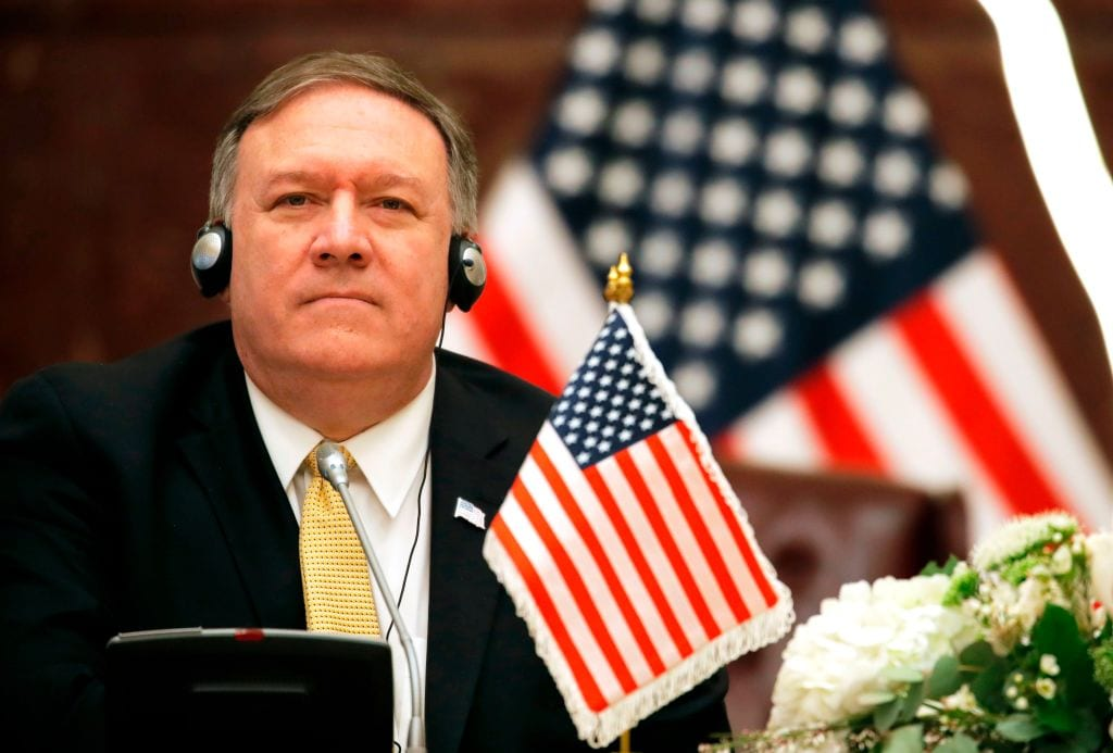 US Secretary of State Mike Pompeo attends a press conference with Kuwait's foreign minister in Kuwait City on 20 March, 2019 [JIM YOUNG/AFP/Getty Images]