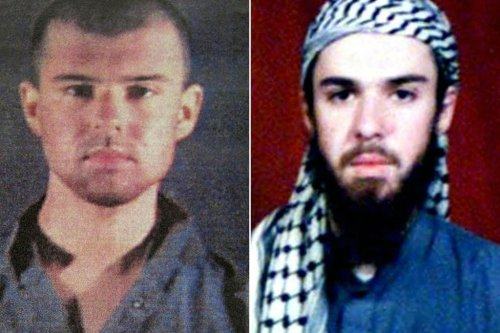 """This combination of pictures created on April 17, 2019 shows at left a police file photo made available February 6, 2002 of the """"American Taliban"""" John Walker Lindh and at right a February 11, 2002 photograph of him as seen from the records of the Arabia Hassani Kalan Surani Bannu madrassa (religious school) in Pakistan's northwestern city of Bannu. [TARIQ MAHMOOD, AFP/Getty Images]"""