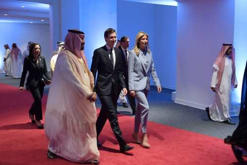 White House senior advisor Jared Kushner and Ivanka Trump arrive at the Global Center for Combating Extremist Ideology shortly before its inauguration in Riyadh on 21 May 2017. [ AFP PHOTO / MANDEL NGAN / Getty]