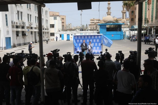 Commissioner-General Pierre Krahenbuhl at a press conference outside UNRWA's office in Gaza on 23 May 2019 [Mohammed Asad/Middle East Monitor]