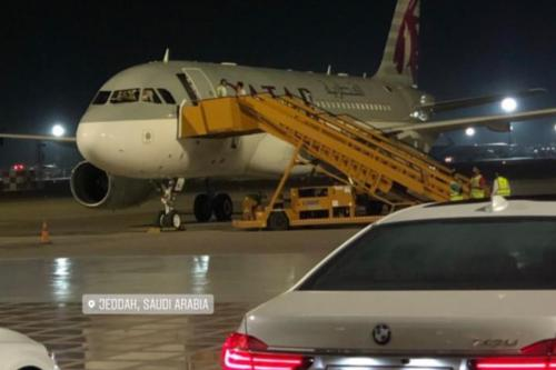 Qatar Airways plane landed at Jeddah airport in Saudi Arabia on 28 May 2019 [Qat/Twitter]