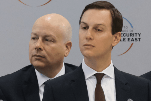 Jared Kushner, (R) Senior Advisor to US President Donald Trump, and Jason Greenblatt, advisor to Trump on Israel on 14 February, 2019 in Warsaw, Poland [Sean Gallup/Getty Images]