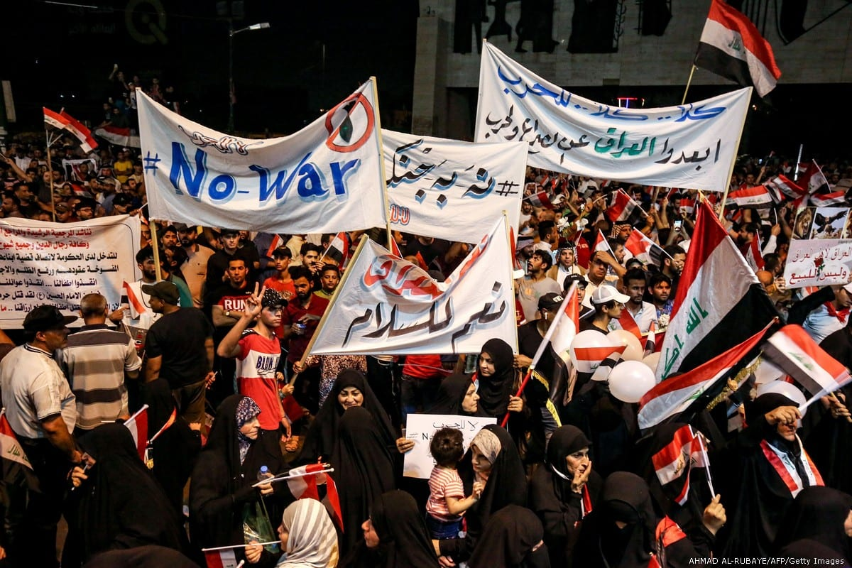 Iraqis demonstrate against the conflict between Iran and the US on 24 May 2019 [AHMAD AL-RUBAYE/AFP/Getty Images]