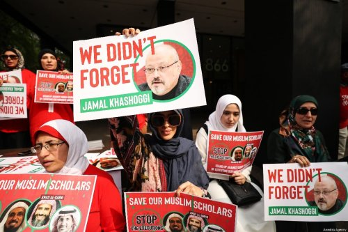 People gather in front of Saudi Consulate in New York to protest against Saudi Arabia's decision to execute three leading Saudi Arabian scholars including Salman al-Awdah after Ramadan, in New York, United States on 1 June 2019. [Atılgan Özdil - Anadolu Agency]