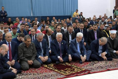 Palestinian President Mahmoud Abbas and Palestinian Prime Minister Mohammad Shtayyeh are seen before performing Eid al-Fitr prayer at the Presidentcy in Ramallah, West Bank on 5 June, 2019 [Palestinian Presidency/Handout/Anadolu Agency]