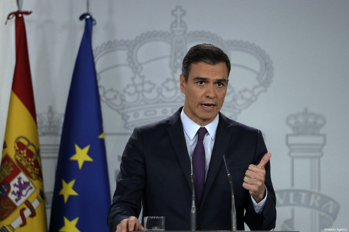 MADRID, SPAIN- JUNE 6: Spain's Prime Minister Pedro Sanchez holds a press conference in Palace of Moncloa, İN Madrid, Spain on June 6, 2019. ( Burak Akbulut - Anadolu Agency )