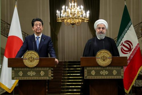Japanese Prime Minister Shinzo Abe (L) and Iranian President Hassan Rouhani (R) hold a joint press conference after their meeting in Tehran, Iran on 12 June 2019. [IRANIAN PRESIDENCY / HANDOUT - Anadolu Agency]
