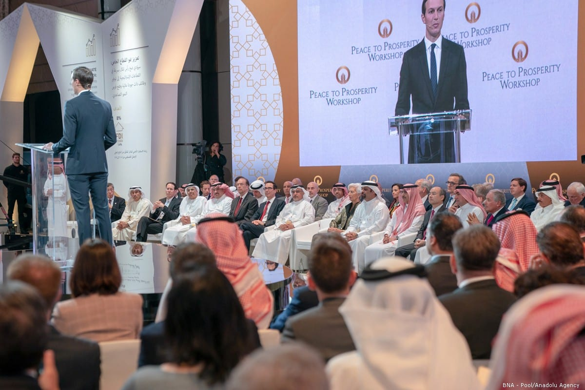 Jared Kushner, US President Donald Trump's senior White House adviser and son-in-law, makes his opening speech in Manama, Bahrain on 25 June 2019 [BNA Pool/Anadolu Agency]