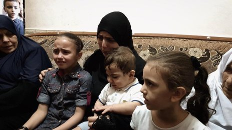Gaza medic killed by Israel, left bereaved wife, 4 children alone, in Gaza, on 12 June 2019 [Loai El-Agha.]