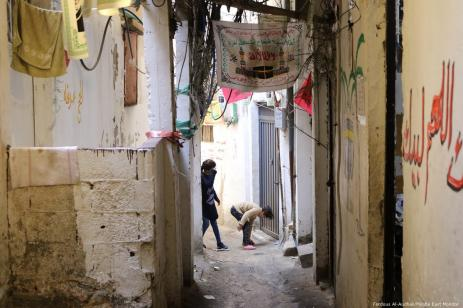 Two girls play in the alleyways of Burj El-Barajneh