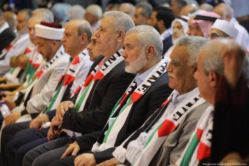 Head of the Political Bureau of Hamas Ismail Haniyeh during a conference in Gaza held to protest against the Manama Workshop on 26 June 2019 [Mohammed Asad/Middle East Monitor]
