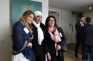 Attendees pose for photo at the Arab-British Chamber of Commerce for Palestine Entrepreneurship Day to promote Palestinian startups and help young entrepreneurs meet and network with the UK business community in London, UK on 14 June 2019 [Jehan Alfarra/Middle East Monitor]