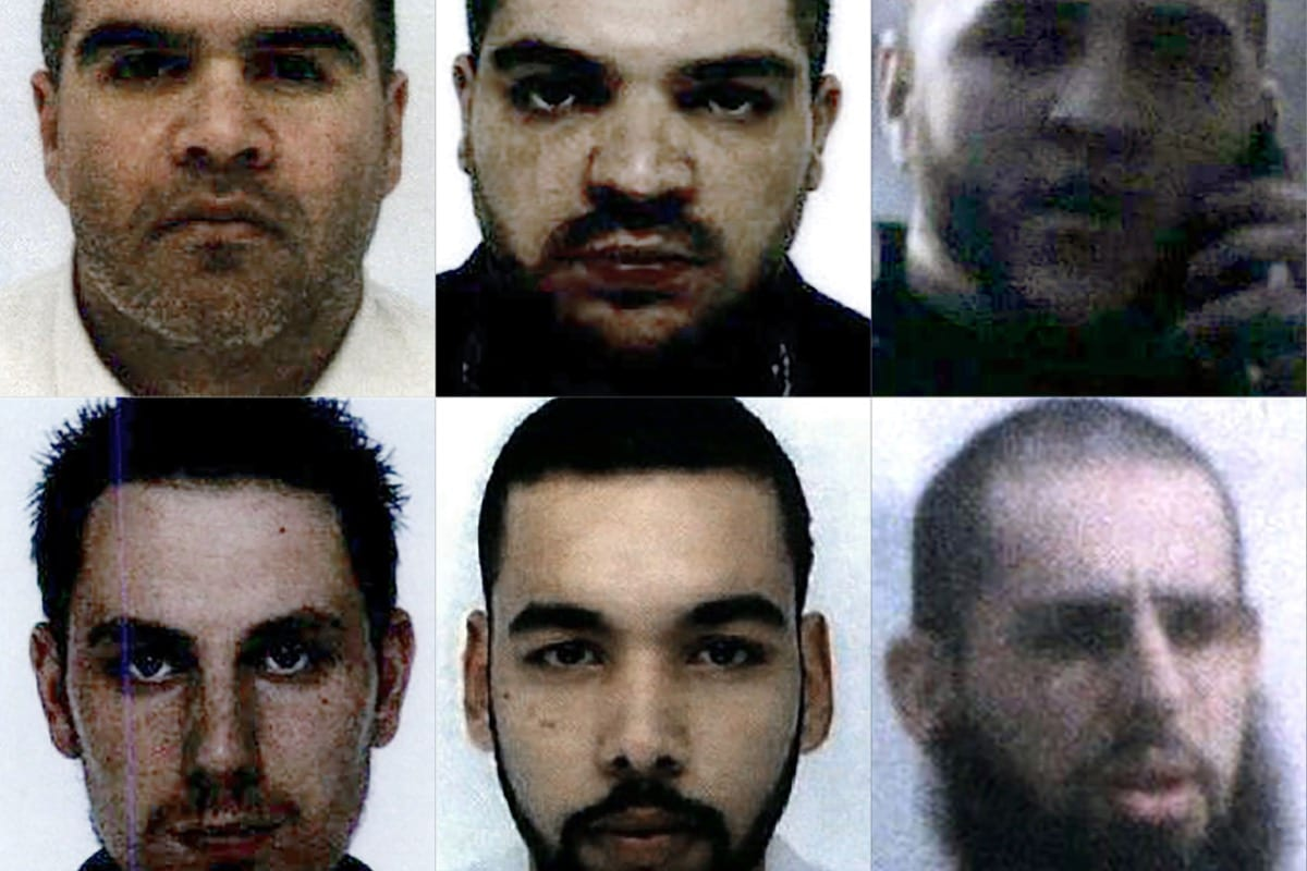 French nationals (from top left to bottom right) Salim Machou, Mustapha Merzoughi, Brahim Nejara, Kevin Gonot, Yassine Sakkam and Leonard Lopez, all sentenced by a Baghdad court to death for joining the Islamic State group, on 29 May 2019 [AFP/Getty Image]