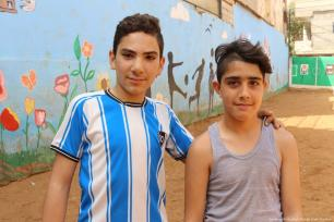 Two young boys who attend the Azahir children and youth centre in Nahr Al-Bared camp.