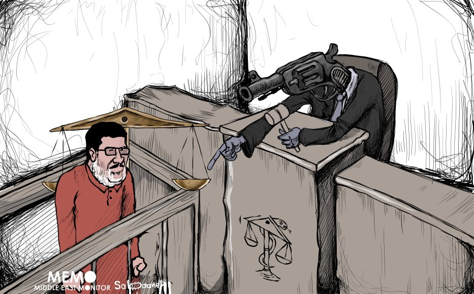 Former Egypt President Morsi dies in court - Cartoon [Sabaaneh/MiddleEastMonitor]