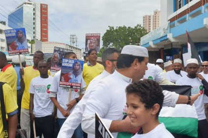 For Quds Day, Kenyans gathered in Mombasa to protest the ongoing Israeli occupation of Palestine, on May 31, 2019 [Afro-Palestine Newswire Service]