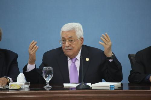 Palestinian President Mahmoud Abbas holds a press conference at the Presidency Building in Ramallah, West Bank on 3 July 2019 [Issam Rimawi/Anadolu Agency]