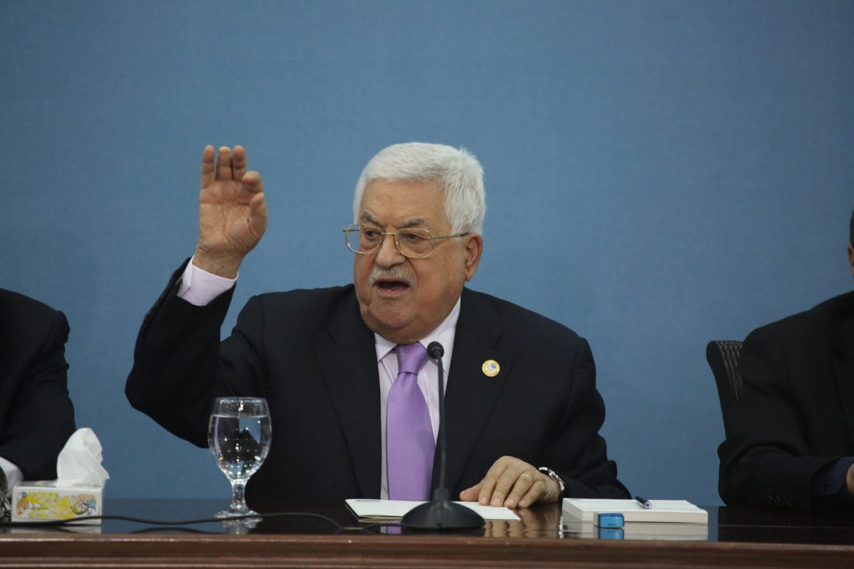 Palestinian President Mahmoud Abbas holds a press conference at the Presidency Building in Ramallah, West Bank on 3 July, 2019 [Issam Rimawi/Anadolu Agency]