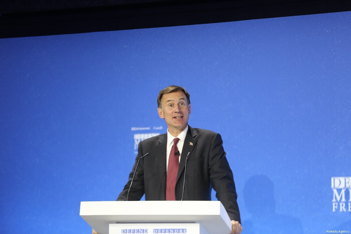 British Foreign Secretary, Jeremy Hunt makes a speech during the Global Conference on Press Freedom in London, United Kingdom on July 10, 2019 [Tayfun Salcı / Anadolu Agency]