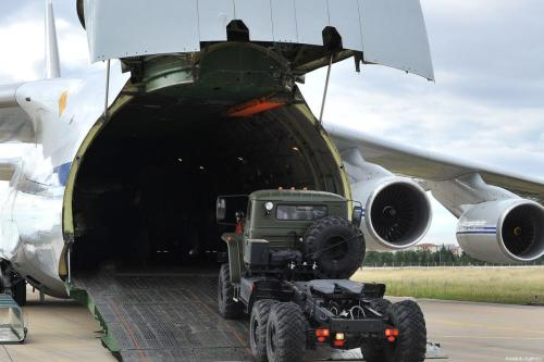 Russian Antonov AN-124 Ruslan transport aircraft, carrying the first batch of equipment of S-400 missile defense system, arrives at Murted Air Base in Ankara, Turkey on 12 July 2019 as S-400 hardware deployment started. [Turkey's National Defense Ministry / Handout - Anadolu Agency]