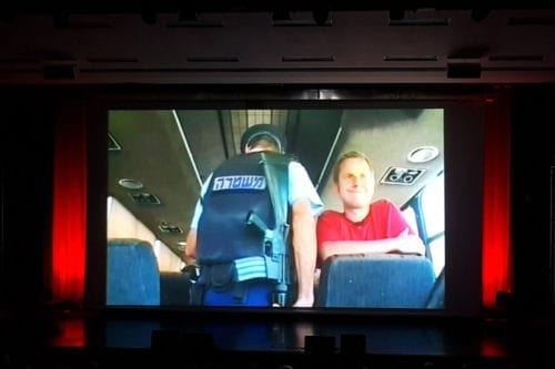 A special screening held in London of 'Jeremy Hardy versus the Israeli Army' in memory of British comedian and champion of Palestinian rights, Jeremy Hardy