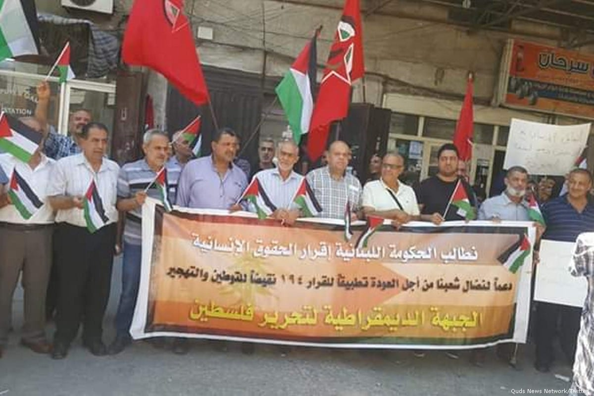 Palestinians in the refugee camp of Baddawi in Lebanon protest against the imposed restrictions on their work opportunities on 15 July 2019 [Quds News Network/Twitter]