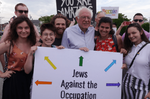 Bernie Sanders joins Jewish activists in opposing the occupation on 1 July 2019 [IMEU]