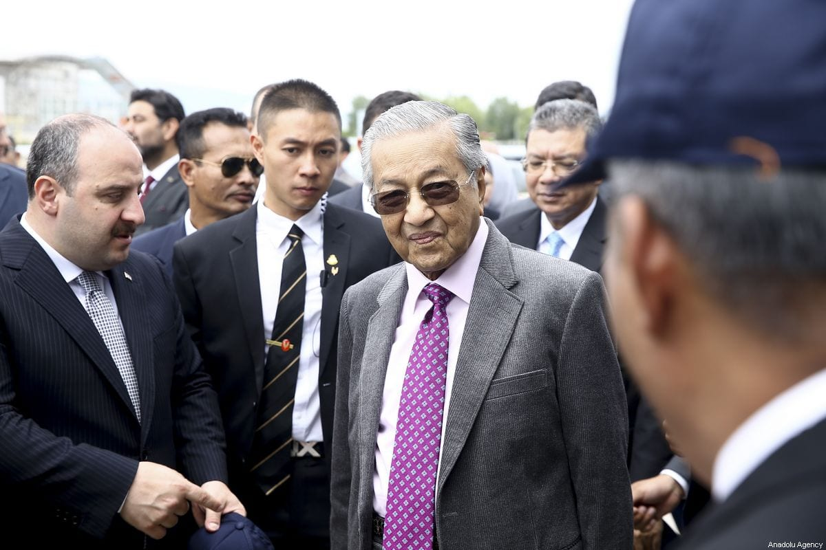 Malaysian Prime Minister Mahathir Mohamad (R) and Turkish Industry and Technology Minister Mustafa Varank (L) visit to Turkish Aerospace Industries (TUSAS) in Ankara, Turkey on July 25, 2019 [Erçin Top / Anadolu Agency]