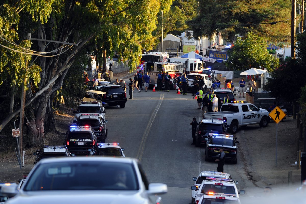 Police arrive at the scene of a shooting in California, US on 29 July 2019 [Neal Waters/Anadolu Agency]