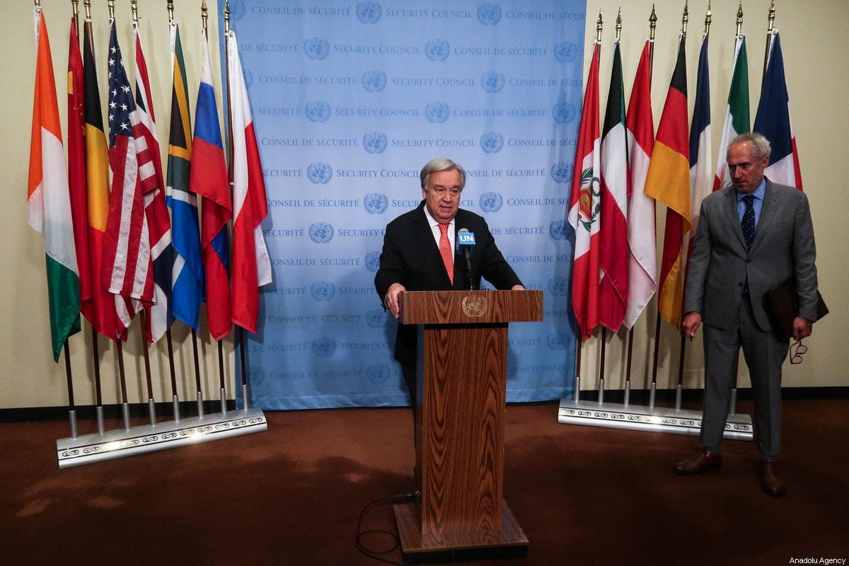 United Nations Secretary General Antonio Guterres holds a press conference at the United Nations Headquarters in New York, United States on August 01, 2019 [Atılgan Özdil/Anadolu Agency]