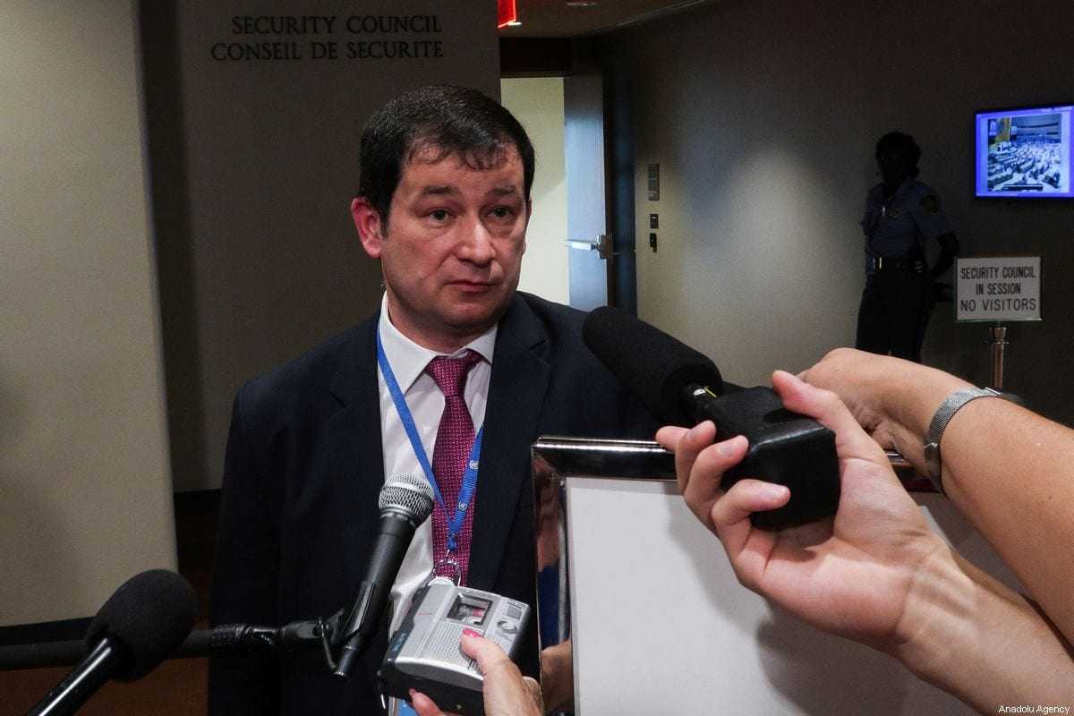 Deputy Permanent Representative of Russia Dmitry Polyanskiy, answers the questions of press members at the United Nations Headquarters in New York, United States on 1 August 2019. [Atılgan Özdil - Anadolu Agency]